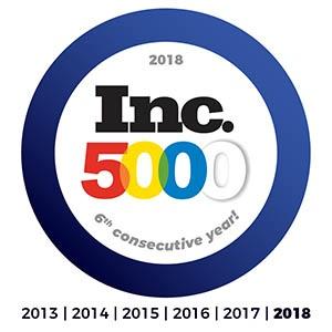 Inc 5000 2018 - 6 Year Streak!